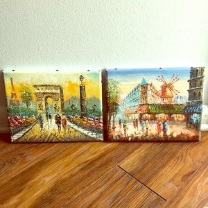 Set of 2: Hand-painted Parisian Landscapes